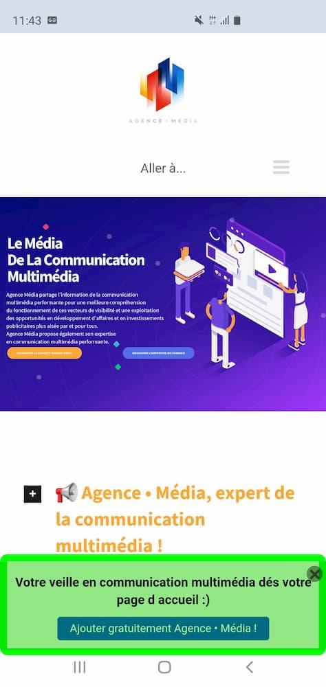 Exemple d'exploitation de la technologie progressive web app sur le site Agence • Média.