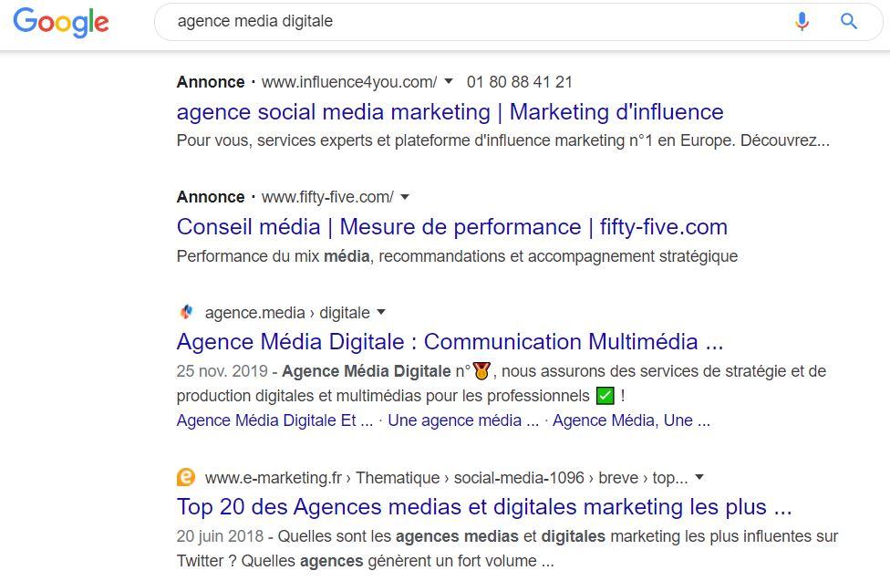 nouvel affichage moteur recherche google